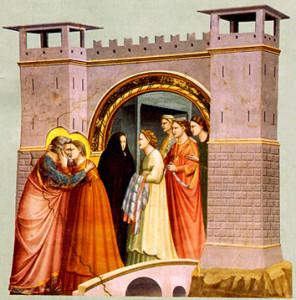"""Джота  дзі  Бандонэ ( каля 1266 – 1337). """"Спатканне  Яўхіма  і  Ганны  каля  Залатой  Брамы"""", Падва."""