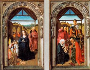 """Дзерыц  Боўтс (1415 – 1475).  """"Нараджэнне  Езуса"""",  Прадо, Мадрыд."""