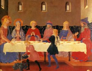 """Жан Поет (памёр каля 1490 г.), """"Вяселле ў Кане Галілейскай"""", Нацыянальная  бібліятэка, Мадрыд."""