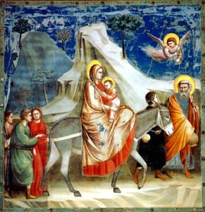 """Джотто ди  Бондоне (1266-1337), """"Бегство в Египет""""."""