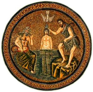 Крещение Христа в Иордане. Мозаика в баптистерии ариан в Равенне (V в.)