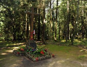 На месцы расстрэлу сясцёр-назарэтанак у лесе каля Навагрудка. Сучасны здымак.
