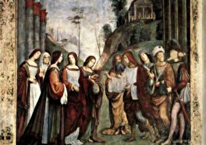 """Франческо  Франча  ( 1450 – 1517 ). """"Обручение святой  Цецилии"""". Фреска. Ораторум  св. Цецилии  в  Болонье.  Италия."""