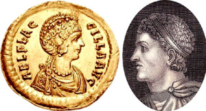 Феодосий Великий (справа) и Флацилла