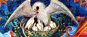 Пелікан  –  сімвал  ахвяры Хрыста, распятага на крыжы.  Сваёю крывёю і сваім целам Ён корміць  нас. Мы  спажываем  Яго  ў  Эўхарыстыі, узмацняючы сябе любоўю Хрыста.