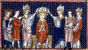 Хиротония св. Илария. Миниатюра XIV в.