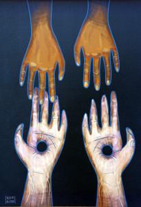 """""""Рукі жыцця"""" – праца парафіянкі  Амаліі Каральковай, якую яна падарыла касцёлу св. Казіміра."""