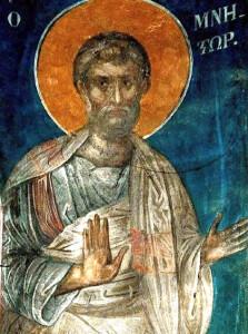Святой Праведный Иосиф Обручник. Фреска монастыря Пантократора на Афоне.  1363 г.