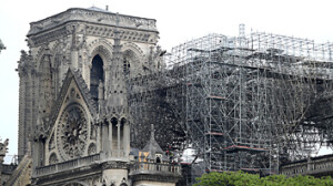 View of Notre-Dame Cathedral after a fire devastated large parts of the gothic gem in Paris