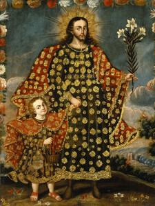 Святой  Иосиф  с  ребёнком  –  Христом.  Живопись  школы  Куско, Перу.